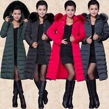 Winter Womens Warm Fur Collar Hooded Duck Down Jacket Long Coat Outerwear Parka