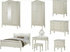 New Shabby Chic Ivory Bedroom Furniture - Wardrobe, Drawers, Bed, Dressing Table