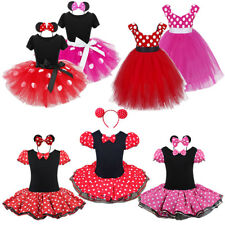Girls Kid Cute Minnie Mouse Fancy Dress Costume Red White Polka dot Child Outfit