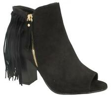 New Ladies Black Faux Suede Fringe Tassel Peep Toe Ankle Boots Size 3 4 5 6 7 8