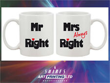 Mr & Mrs -Always- Right novelty mug set of 2, Unique Gift Idea