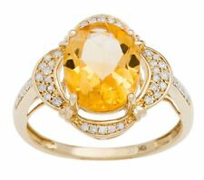 Yellow Gold 3.33ct Oval Citrine and Pave Halo Diamond Ring