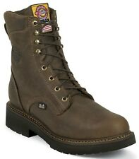 """Justin Men's 8"""" Rugged Bay Gaucho J-Max Lace Up Steel Toe Work Boots 445"""