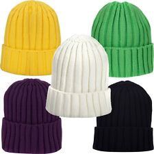 Solid Women Winter Ribbed Knit Beanie Roll Up Skull Slouchy Cap Cuff Ski Hat