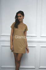 Glamzam New Womens Ladies Faux Suede Shift Mini Short Sleeve Party Mustard Dress