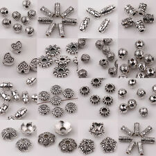 15Pcs Tibet Silver Floral Bead Caps Charms Loose Spacer Beads Jewelry Making DIY