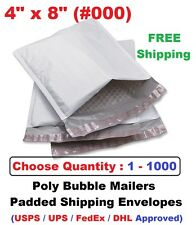 #000 4x8 Poly Bubble Mailers Padded Shipping Envelopes Self Sealing Bags 1 -1000