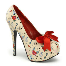 """Pin Up Couture 5.75"""" Heel Shoes Satin Bow Tie Cream Rockabilly 6 7 8 9 10 11"""