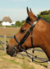 Heritage English Leather Bridle Plain Noseband, Includes Reins