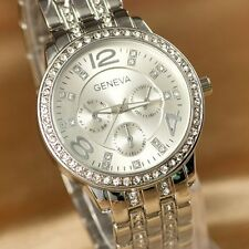 Fashion Women's Stainless Steel Bracelet Crystal Analog Quartz Dial Wrist Watch