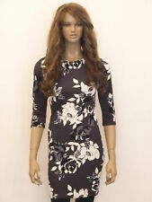 New womens charcoal grey with black bold floral print bodycon dress size 8-16