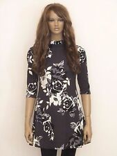 New womens charcoal grey with black bold floral print swing dress size 12