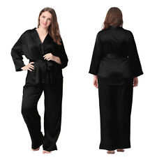 Women Silk Pajama Set 22mm 100% Mulberry Silk Notched Collar Sleepwear Plus Size