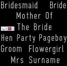 Personlised Iron on rhinestone transfer plain text motif bride wedding hen party