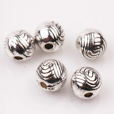Hot Sale 15/30Pcs Tibetan Silver Big Hole Spacer Beads Jewelry Making Craft 6mm