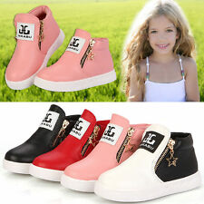 GIRLS BOYS ANKLE BOOTS TODDLER HI TOPS TRAINERS KIDS ZIPPER FASHION SHOES SIZE