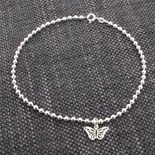 925 Solid Sterling Silver Bead Ball Ankle Bracelet Anklet With Butterfly Charm