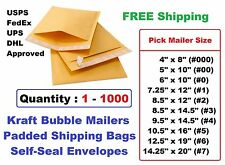 #000 00 0 1 2 3 4 5 6 7 Kraft Bubble Mailers Padded Shipping Envelopes -1 25 100