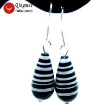 Sale 8*16mm Black Drop zebra stripe agate dangle earring silver s925-ear298
