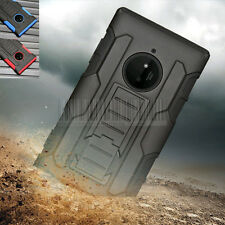 Rugged Hybrid Shockproof Rubber Hard Case Cover Holster For Nokia Lumia 830