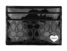 COACH F62405 PERFORATED EMBOSSED LIQUID GLOSS CARD CASE BLACK