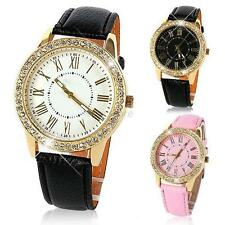 Bling Vintage Gold Wrist Watch Crystal Women Faux Leather Strap Quartz watch U90