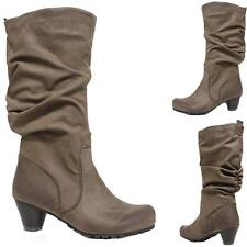Ladies Womens Mid Calf Biker Riding Mid Block Heels Winter Slouch Boots Shoes