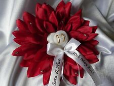 PERSONALISED wedding flower with rings holder/ wedding ring cushion - 6 colors