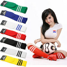 1x 2x Lot Unisex High Over Knee Long Stripe Stocking Sport Soccer Football Socks