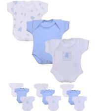 BabyPrem Preemie Micro Baby Boys Blue Clothes 3 Pack Bodysuits One-Piece Vests