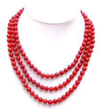 """SALE 6-7mm Natural Round high quality Red Coral 3 Strands 18-20"""" Necklace-ne5146"""