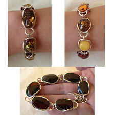 BALTIC CHERRY, MULTICOLOR or GREEN AMBER & STERLING SILVER LINK BRACELET