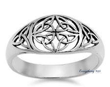 Sterling Silver 925 LADIES MENS CELTIC DESIGN SILVER BAND RING 10MM SIZES 5-12