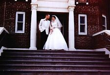 Vintage 1960's Cute Bride and Groom on Church Steps Wedding Dress
