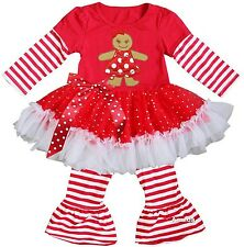 Red White Stripes Xmas Gingerbread Girl Ruffled Top with Pants Outfit