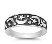 Sterling Silver 925 OXIDIZED PRETTY MOON & STARS DESIGN BAND RING 7MM SIZES 5-13