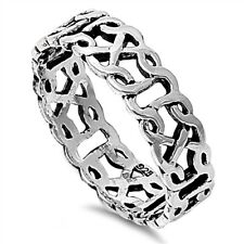 .925 Sterling Silver 6MM LADIES MEN'S CELTIC DESIGN SILVER BAND RING SIZES 4-13