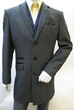 Mens Coat Long Blazer Marc Darcy Jacket Slim Fit Velvet Collar Lined Formal Suit