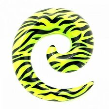 Taper Piercing Animal Print Expander Spiral Zebra Green Black Ear Set or Single