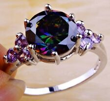 18K W GOLD EP 3.0CT MYSTIC RAINBOW TOPAZ AMETHYST RING WOW size 6 - 12 u choose