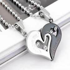 Fashion Couple Lover Necklace I Love You Heart Shape Pendant Valentine's Gifts