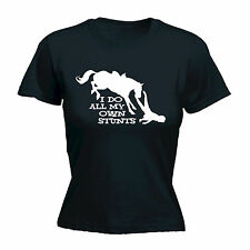 I Do All My Own Stunts Horse WOMENS T-SHIRT Tee Equestrian Funny birthday gift