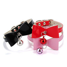 Hot Three Colors PU Leather Bowknot Bell Cat Dog Necklace Collar Pet Supplies
