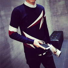 Mens Knitwear Sweater Neck Round Pullover Slim Fit Lightning Knitted Sweaters