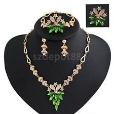 Wedding Bridal Rhinestone Leaf Drop Earring Necklace Gold Plated Jewelry Set