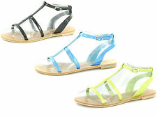 SALE - LADIES SPOT ON STRAPPY FLAT CASUAL ANKLE STRAP GLADIATOR SANDALS F0338
