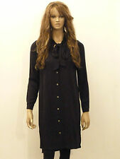 New womens black pussy bow button down long sleeved shirt dress 6-20