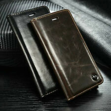 New Slim Retro Leather Flip Wallet Case Card Slot Stand Cover For Samsung iPhone