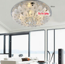 LED Clear Crystal Chandelier Round Ceiling Lighting Living Room Pendant Lamp
