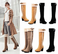 Womens Ladies Block Heel Fur Lined Warm Winter Knee High Calf Snow Boots Size